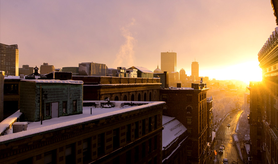 Boston Sonnenuntergang im Winter
