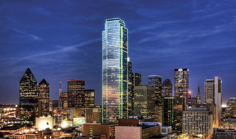 Dallas Skyline bei Nacht