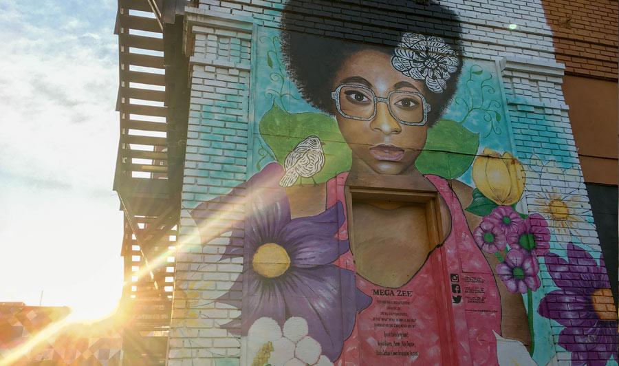 Wandgemälde in Deep Ellum, Dallas