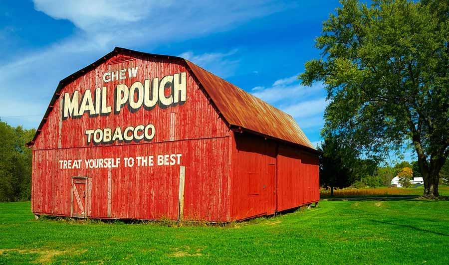 Typische Scheune in Ohio - einst wurden sie als Werbetafeln verwendet, heute sind sie Kult!
