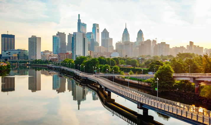 Philadelphia Skyline bei Nacht