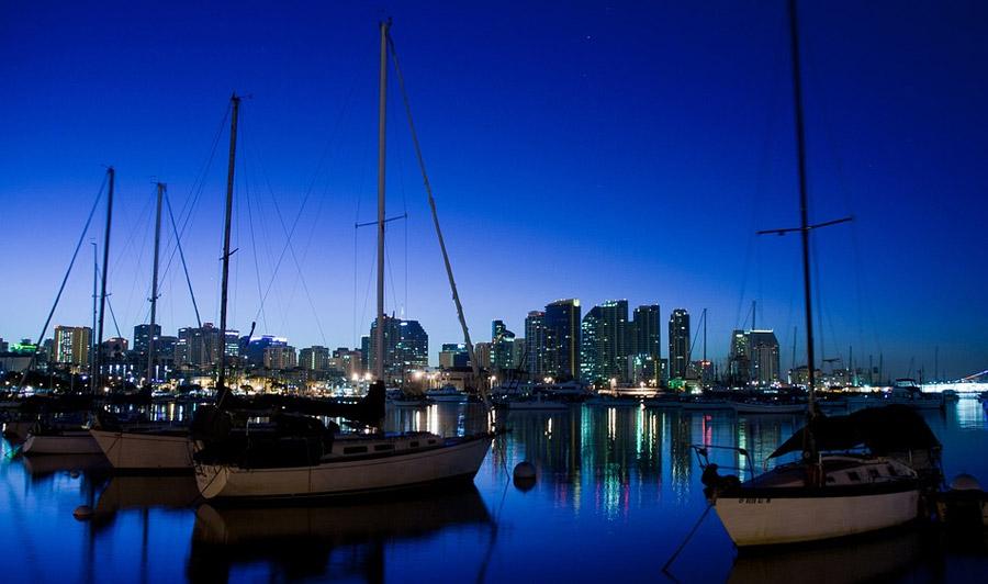 San Diego Hafen bei Nacht