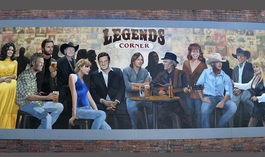 Mural an der Musikkneipe Legend's Corner, Nashville