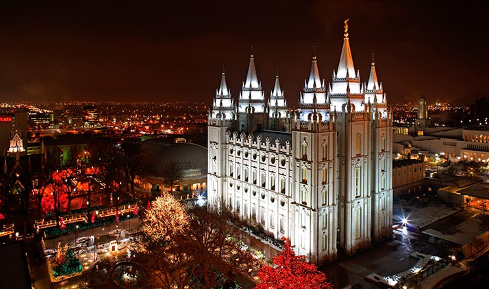 Salt Lake City mit dem Temple Square bei Nacht