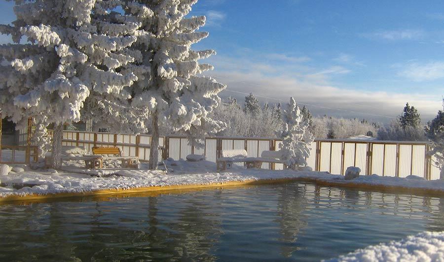 Takhini Hot Springs im Winter